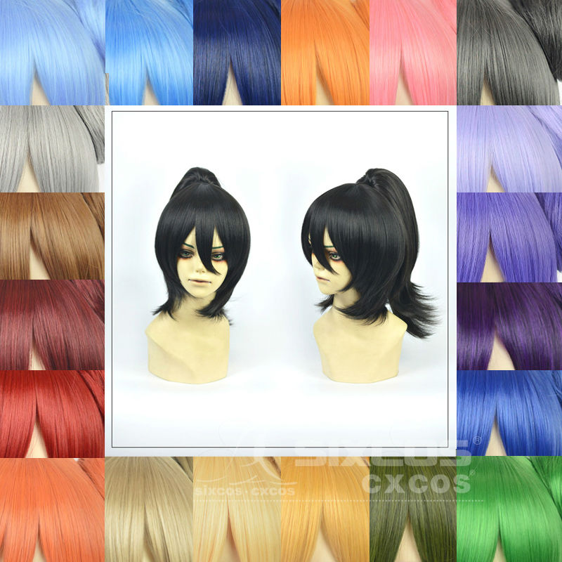 Free Shipping Cosplay Daily 35-45cm Short Wigs Clip On a 30cm Ponytail White Black Grey Women Men Full Lace Human Synthetic Wigs<br><br>Aliexpress