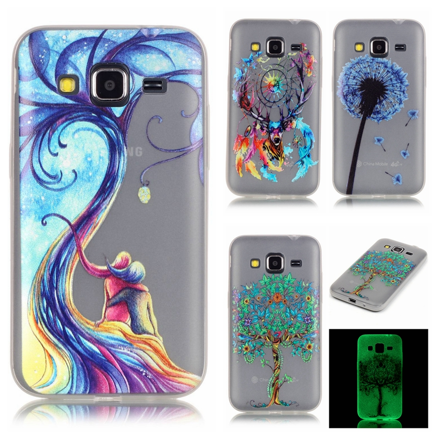 Luminous night Case for Samsung Galaxy Core Prime G360 Fluorescence Transparent Silicon Soft TPU Cover Phone Protective Shell