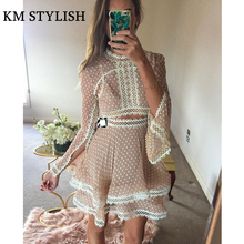 2017 autumn new Australian ladies embroidered hollow lace lace jacquard chiffon dress real shot(China)