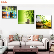 ShineHome-3pcs/set Canvas Picture Prints Artwork for Spa Yoga Salon Kitchen Flower Cobble Stone Painting Wall Living Room Decor