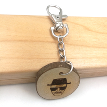 Breaking Bad inspirational Heisenberg key chain natural ash rustic wooden burnt annual ring new in gift box KC034