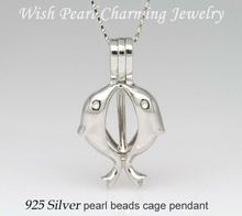 925 Silver Double Dolphin Shape Pearl Gem Locket, Sterling Silver Pendant Mounting Necklace Accessory, Dolphin Pendant Charms