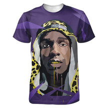 Real American size  asap rocky  purple 3D Sublimatin print  high quality T-shirt Custom Made Clothing plus size