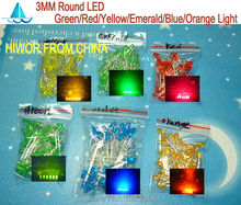 (300pcs/lot) 3MM Round LED Assortment Kit, Ultra Bright, Green/Emerald/Yellow/Blue/White/Red Light Emitting Diode