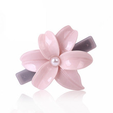 New flower hair barrettes Sweet Leaf shell shape Cellulose Acetate Hair Clips Pearl Barrette SA026