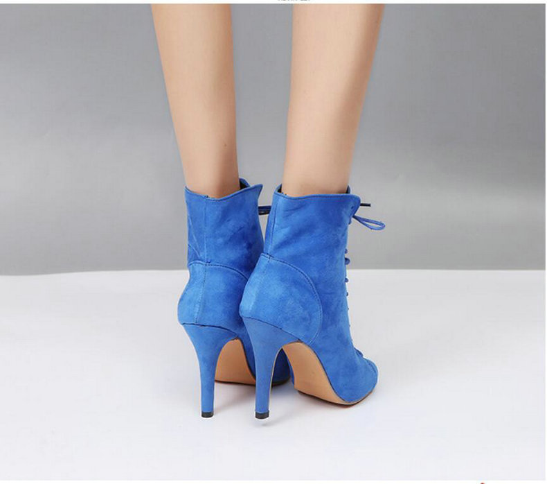 Women's Boots' Women Lace-Up Black Ankle Boots Women High Heels Pointed Toe Ankle Boots For Womens Plus Size Shoes Woman Boot    (7)
