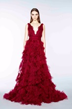 Buy Elie_Saab Sexy V Neck V back Floor length chapel train dress tulle Tiered Applique Lace Burgundy wedding Dresses for $158.00 in AliExpress store