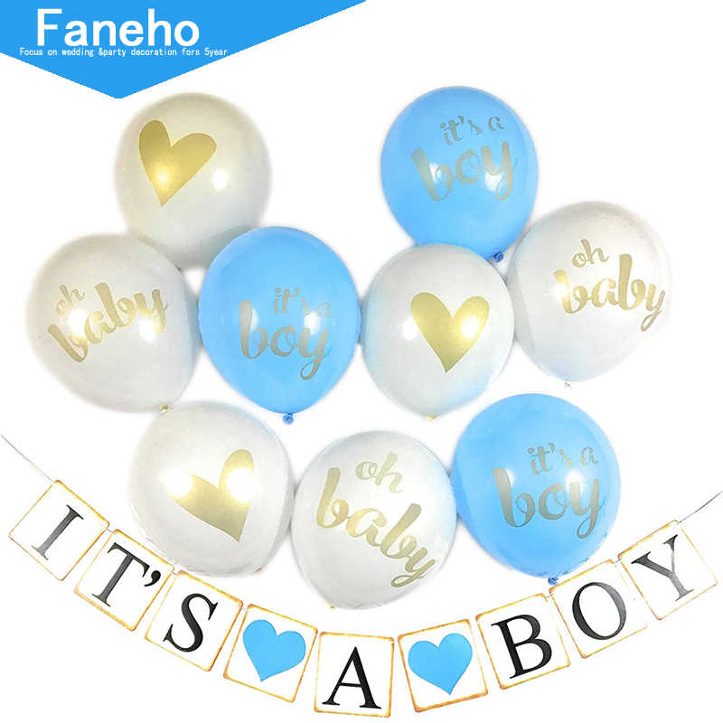 First Birthday Balloons Banner Baby Shower Boy Party Decorations Kids