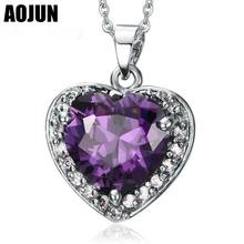 AOJUN Carter Love Heart Of The Ocean Choker Pendants & Necklaces For Women Purple Crystal Necklace Birthday Best Friends Gifts(China)