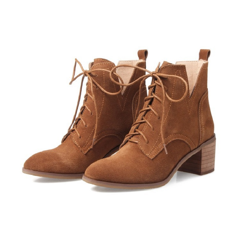 Thick with leather boots leather 2017 autumn and winter burst with round head with casual Martin boots female<br>