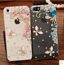 Beautiful 3D flower Rhinestone Diamond Clear Crystal Butterfly Case For Meizu mx5 mx4 mx4 pro Pro 5  Cell Phone Cover