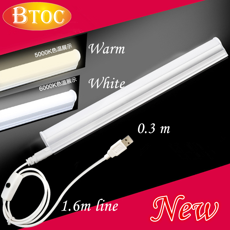 Portable T5 integrated lamp tube USB power plug 30 LEDS 300mm with 1.6m Switch power supply line With magnet function warm white<br><br>Aliexpress
