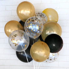 "Gold and black Latex Confetti Balloon Set Bouquet 12"" 20pcs-Baby Shower Birthday Wedding Party Decoration Photo booth(China)"