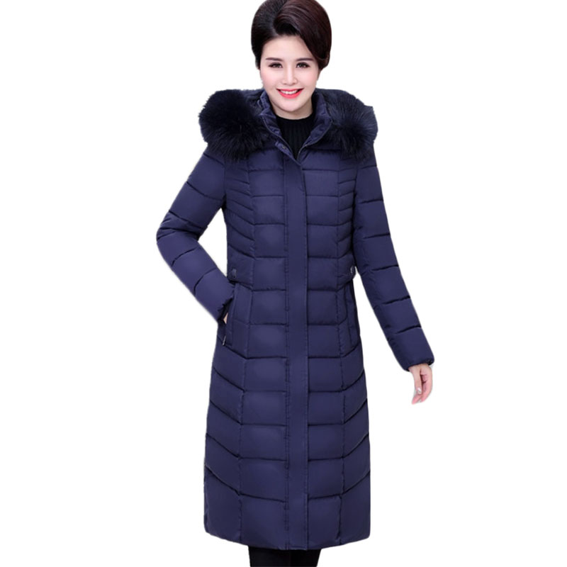 Plus size Middle-aged Women Down cotton Coats Hooded Long Parkas Winter Jacket Coat Womens Thick Warm cotton Outerwear 7XL A1129