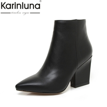 KARINLUNA 2017 Plus Size 32-43 Black Pointed Toe Women Shoes Women Fashion High Heels Add Plush Autumn Winter Ankle Boots(China)