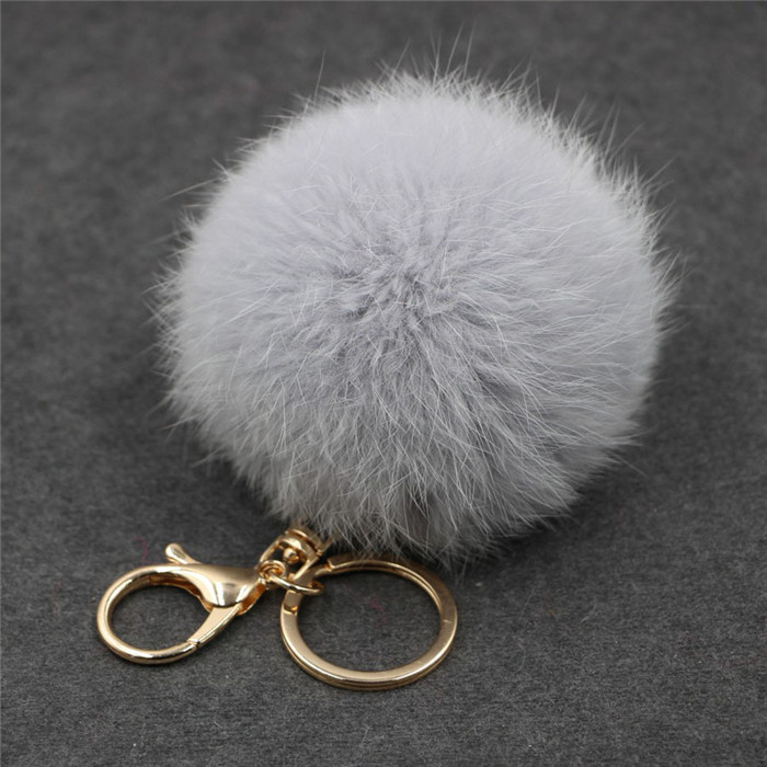 8CM Fluffy Pompom Real Rabbit Fur Ball Key Chain Women Trinket Pompon Hare Fur Toy keyring Bag Charms Ring Keychain Wedding Gift (23)