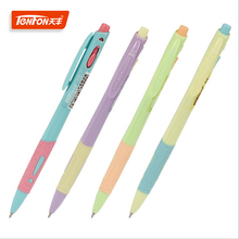 2PCS/lot Hot Sale Stationery Store 0.5mm Blue Ink Ballpoint Pens Multicolor Plastic Flexible Ball Pens School Office Supplies(China)