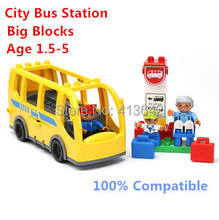 Yellow City Bus Station Set Big Building Blocks Funny Sence Blocks Baby Toys Educational Toys Compatible