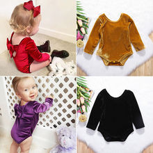 2017 Newborn Baby Girls Long Sleeves Velvet pleuche Bowknot Backless Bodysuit Jumpsuit Clothes Cute Bow Outfits(China)