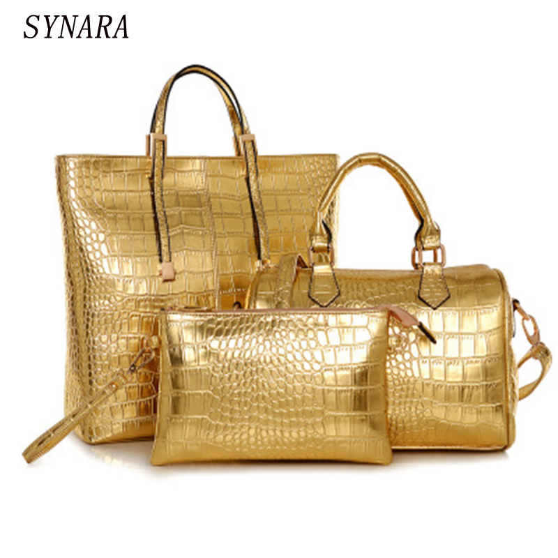 3Pcs Luxury Alligator Crocodile Women Leather Handbag Set Famous Brand Women Shoulder Bags Ladies Handbags Purse Clutch Bag Gold<br>