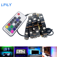 LPILY USB RGB Backlight LED Strip 2M 5V USB LED Strip 5050 RGB with 17 Key RF Controller for TV Background Tape USB Strip Light(China)