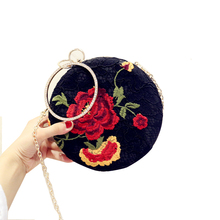 Retro Design Women Lace Evening Bags Girls embroidery Flowers Purses Female Round Wedding Box Clutches Purses black color ST153(China)
