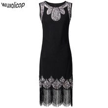 Stretchy Little Black Dress Women's 1920s Vintage Fringe Embellished Sequin Beaded Flapper Dress Gatsby Tunic Top Shift Dress(China)