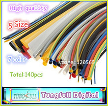 140pcs 7color Assortment 2:1 Heat Shrink Tube Tubing Sleeving Wrap Wire Cable Kit Have Real Track NO.  Fast Shipping
