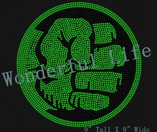 Free shipping high quality hot fix rhinestones transfer motif fist green with blacke sport logo for sports t-shirt(China)