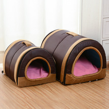 Dog House Nest With Mat Foldable Home Pet Dog Bed Cat Puppy Dog Kennel For Small Medium Dogs Animals Chihuahua Beds Mat Cushion(China)