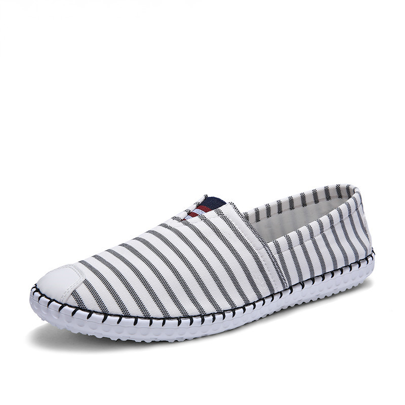 New Fashion Striped Canvas Shoes Men Loafers Breathable Slip on Autumn Flats For Men Casual Shoes Comfortable Zapatillas Hombre<br><br>Aliexpress