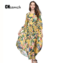 CNsamch Early Autumn Wrist Sleeve Woman Print Flower Long Dress Empire Colorful New Summer Autumn Pleated Dress Free Shipping(China)