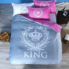 Crown Bedding sets Black and White King queen size 100% Cotton bed in a bag sheets spread quilt duvet covers bedset quilt doona(China)