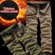 Winter Double Layer Men's Cargo Pants Warm Outdoor Sports Pants Men Baggy Thicken Wool Trousers Army green Overall Plus size