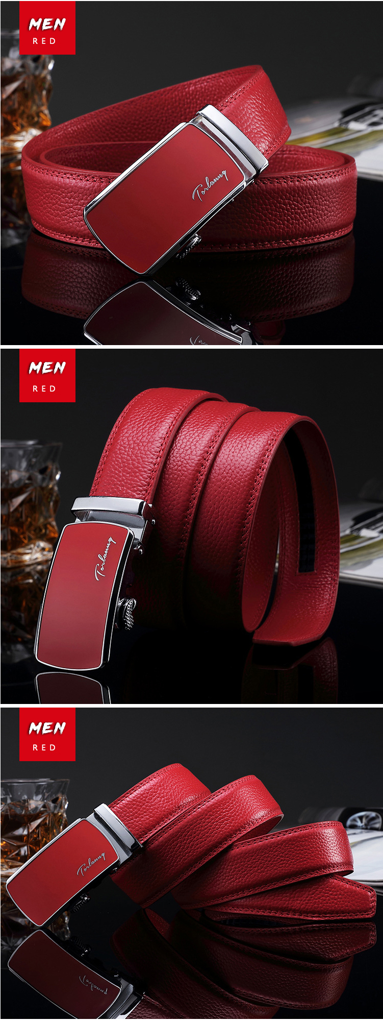 (4)Designer Weddin for Men Belts Genuine Leather Famous Brand Automatic Buckle Female Belt Red Strap Luxury Womens Belt Male