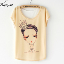 2016 Summer Casual Women Loose Batwing Sleeve Floral T-Shirts Cute Flag/Cat/Sunflower/Princess Pattern Girls T-shirt Print Tops(China)