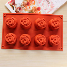 New Cake tools 8 Rose 3D Silicone Soap Making Mold Cake Chocolates Soap Making party and home Decoration