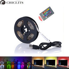 Ruban USB Led Strip Light 5M No-Waterproof RGB Led Strip Computer Strips SMD5050 5V USB TV Backlight Led Tape 1M Bande Lighting
