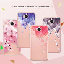 3D Relief Phone Case For Huawei Y6 2017 5.0 inch Floral Cartoon Peach Lace Soft TPU Back Cover For Huawei Y6 2017 Coque Funda