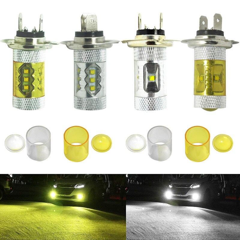 2pcs Car 30/50/80W H7 LED Fog Light 6000K White 4300K Yellow Projector Driving DRL Bulb CSL2016<br><br>Aliexpress