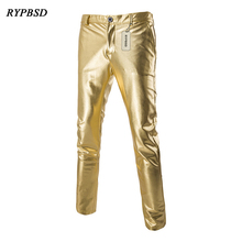 New Arrival Gold and Silver Black Shiny Gothic Rock PU Leather Pants Men Zipper Stage Performance Singers Dance Trousers M-2XL(China)
