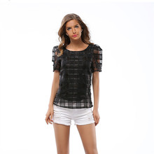 2017 Women T Shirt New Summer Woman Alien Shirt O Neck Short Sleeve Casual Grid Tee Shirt Femme Tops