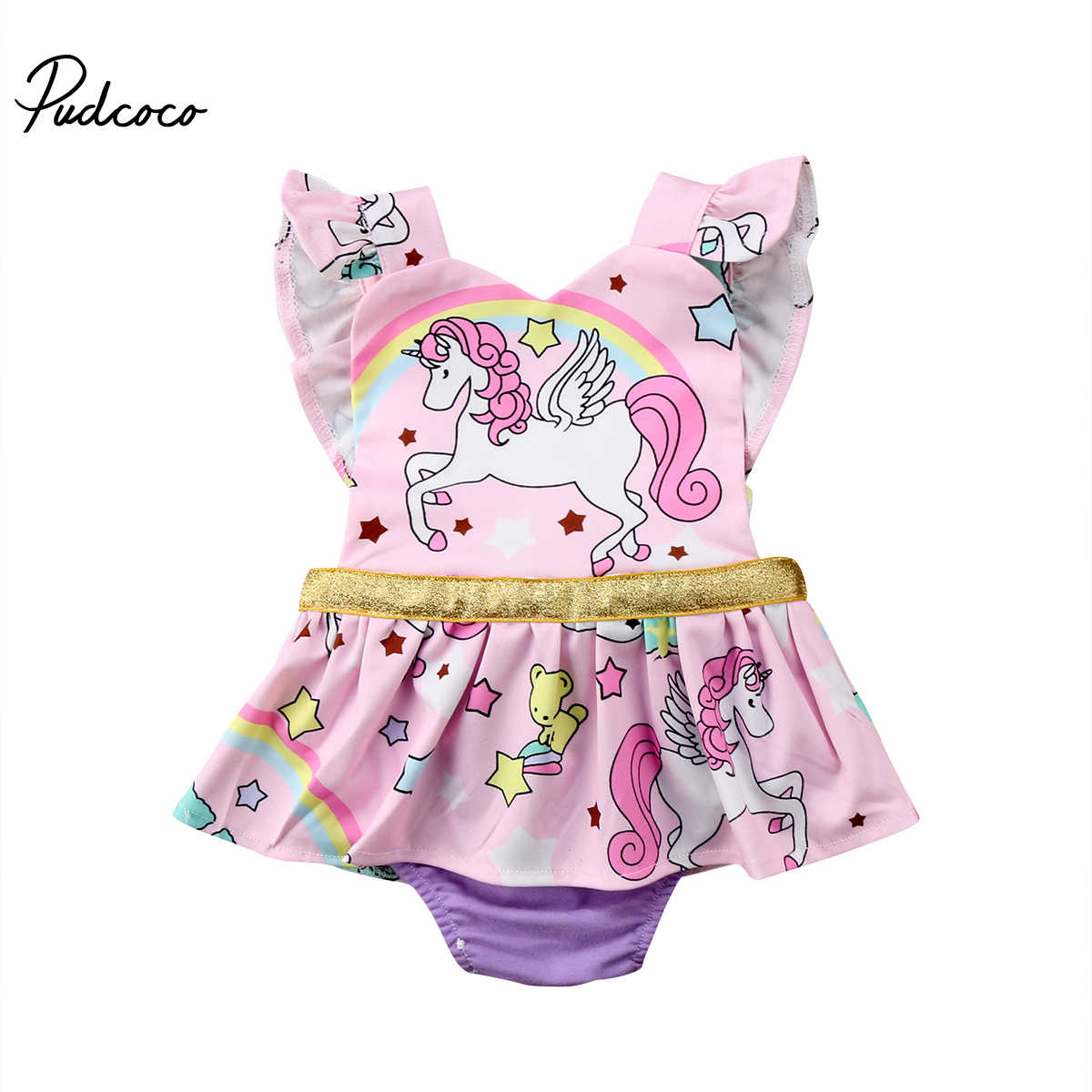 c117765c2868 Detail Feedback Questions about Newborn Baby Girls Romper 2018 Cartoon  Unicorn Sequins Romper Princess Baby Girls Clothing Birthday Party Infant  Girls ...