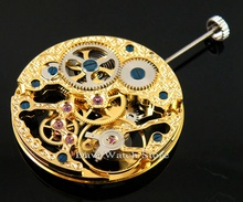 mechanical Gold Full Skeleton Hand Winding movement fit mens watch