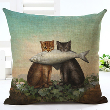 New Arrive Hot Selling Classical Printing Linen Cotton Cushion Cover Throw Pillow Sofa Pillow Cojines(China)