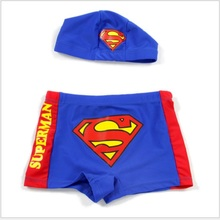 2016 Brand New Superman Boys Swim Trunk Hat Children Swimwear Kids Swimsuit Cap Baby Boy Swimming Bathing Clothes Shorts Trunks