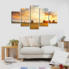 Fire cloud sky wall art modern canvas prints art home decor for living room Pictures 5 panel large HD printed painting Framed Re(China)
