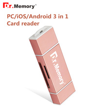 Dr.Memory 3 in 1 Micro SD Card Reader Lightning tf card Memory Card Reader for iphone 6s 7 plus metal Android OTG adapter(China)