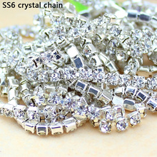 Hot! 10Yards SS6 2MM Crystal Rhinestone Chain DIY Sew On Silver Base Density Trim Strass Crystal Cup Chains For Dress wholesale!