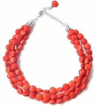 Free Shipping Statement Necklace, Three Layers Choker Necklace, Orange Necklace